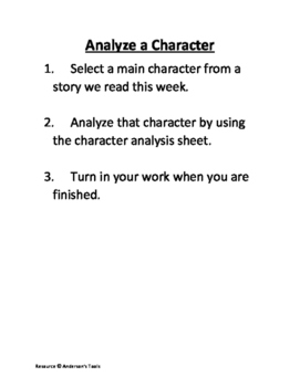 Analyze Characters, Setting(s) and Events