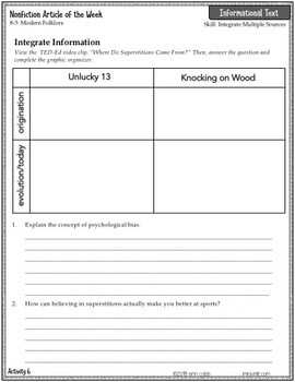 Analyze Connections in a Text RI.8.3 | Nonfiction Article + Activity Pack #8-3