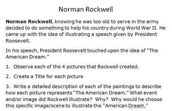 Analyze & Evaluate Activities- Multiple Literary Genres-Norman Rockwell & FDR