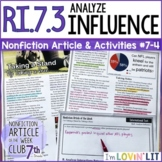 Analyze Influence in a Text RI.7.3   NFL Protests Taking a Knee Article #7-4