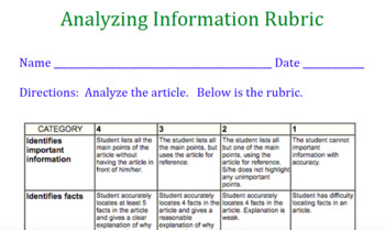 Analyze Information Rubric