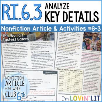Analyze Key Details RI.6.3 | Nonfiction Article + Activity Pack #6-3