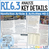 Analyze Key Details RI.6.3 | Competitive Eating Article #6-3