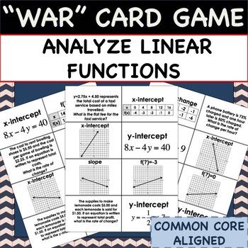 "Analyze Linear Functions - MATH ""WAR"" CARD GAME"