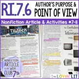 Analyze Point of View & Purpose RI.7.6   Television Technology Article #7-11