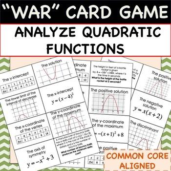 "Analyze Quadratic Functions - MATH ""WAR"" CARD GAME"