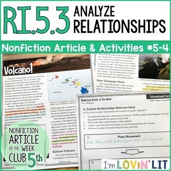 Analyze Relationships in a Text RI.5.3   Hawaii Volcano (Kilauea) Article #5-4