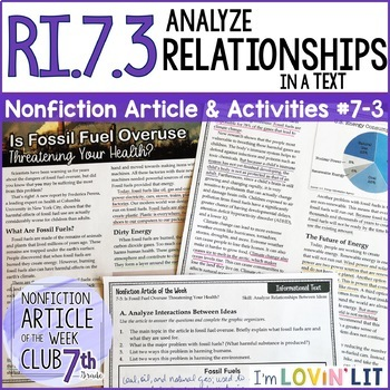 Analyze Relationships in a Text RI.7.3 | Nonfiction Article + Activity Pack #7-3