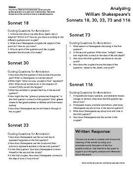 Shakespeare Sonnet 18 Worksheets & Teaching Resources | TpT