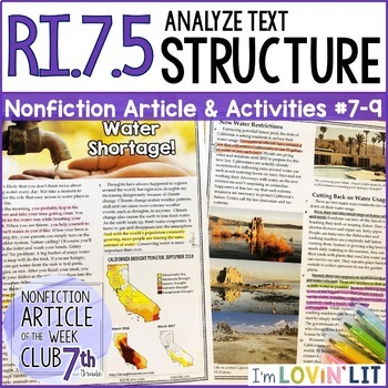 Analyze Text Structure RI.7.5 | Water Shortage! California Drought Article #7-9