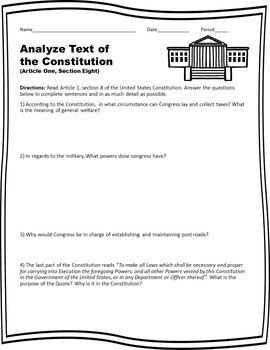 Analyze Text of the Constitution (Article 1, Section 8)