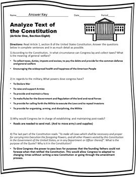 Preamble And Article 1 Worksheet Answers