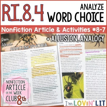 Analyze Word Choice, Analogy, Allusion RI.8.4 | Arachnophobia Article #8-7