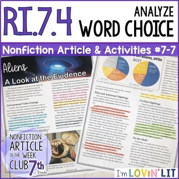 Analyze Word Choice RI.7.4 | Aliens: A Look at the Evidence #7-7