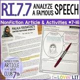 Analyze a Famous Speech RI.7.7   Malala Yousafzai UN Speech 2013 #7-16