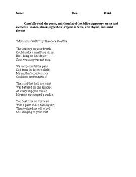 Analyze a Poem Activity - CCSS Aligned