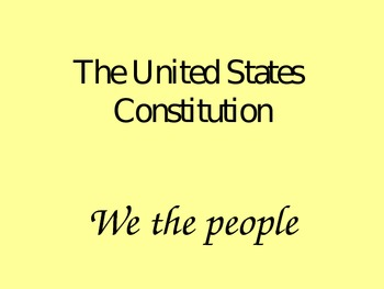 The Constitution: Analyze it