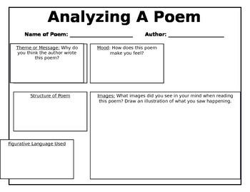 Analyzing A Poem Graphic Organizer