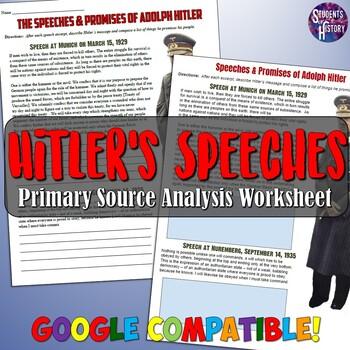 Analyzing Adolf Hitler's Speeches Worksheet