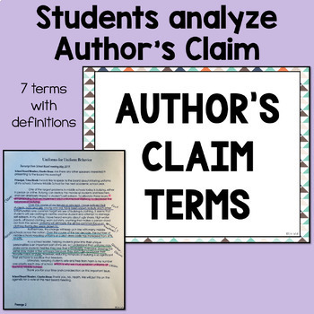 Analyzing An Author's Claim