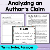 Author's Claim, Counterclaim, and Evidence Analysis Activity