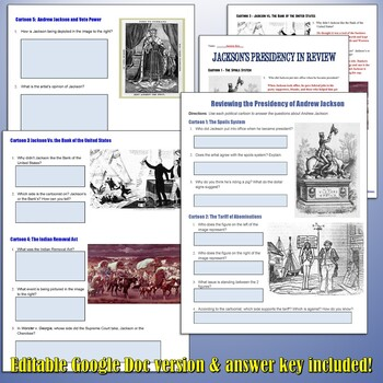 Andrew Jackson Political Cartoon Analysis Worksheets by ...