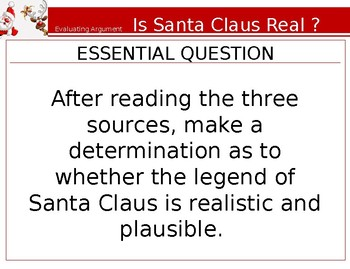 """Analyzing Argument- Christmas Collaboration Activity- """"Is Santa Real?"""""""