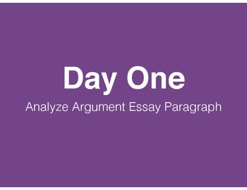 Analyzing Argument Essay Practice Paragraph (with Common Core Standards)