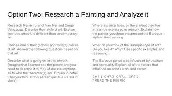 Analyzing Baroque Paintings - lesson, task, and rubric