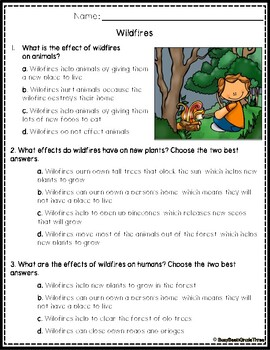 Cause and Effect Reading Comprehension Passages with Questions