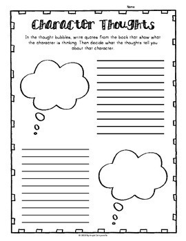 Character Graphic Organizers for any book