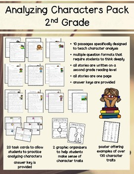 2nd grade character traits analyzing character traits reading comprehension pack - nd grade