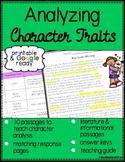 Analyzing Character Traits Reading Passages - Printable & Distance Learning