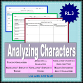 Analyzing Character Graphic Organizers (Common Core Aligned)