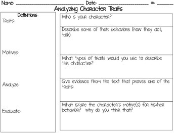 Analyzing Characters & Their Traits CCSS RL.6.1 & RL.6.3 Aligned**