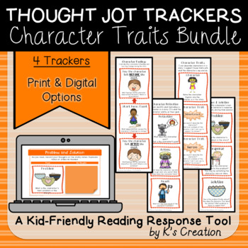 Reading Response: Character Analysis Bundle - Comprehension Sticky Note Trackers