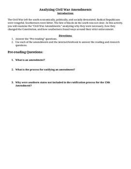 Analyzing Civil War Amendments - Primary Source Activity