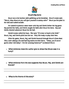 Analyzing Clues and Theme Worksheet