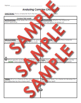 Analyzing Complex Characters RL 9-10.3 Graphic Organizer