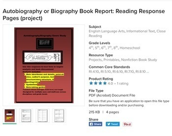 Fiction and Nonfiction Book Reports (bundle): Reading Response Pages