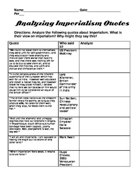 Analyzing Imperialism Quotes- FREE