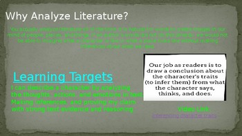 Analyzing Literary Characteristics ppt