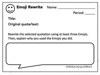 Analyzing Literature Using Emojis Bell Ringers/Exit Slips, Quizzes