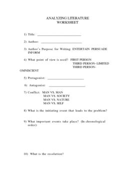 Analyzing Literature Worksheet