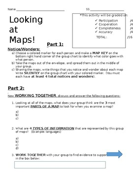 Analyzing Maps Group Activity- Questions  (S.S. Framework Aligned)