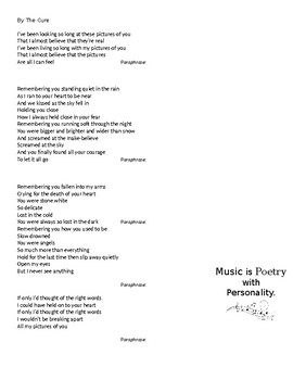 Analyzing Music as Poetry with Classic 1970s Songs, 10 page packet