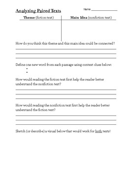 Analyzing Paired Texts Worksheet