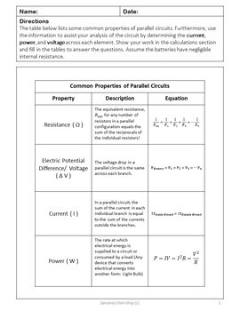 Analyzing Parallel Circuits: Notes and Worksheets