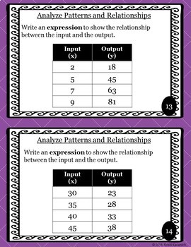 Analyzing Patterns and Relationships Task Cards / Scoot Cards - 5.OA.B.3