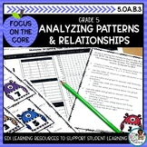 Analyzing Patterns and Relationships- Math Center Activity